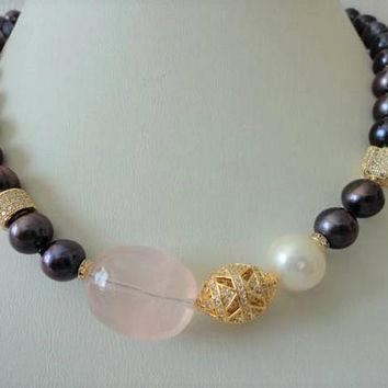 Black Pearl Necklace, pearl gemstone necklace, gold micro pave beads, rose quartz, freshwater pearl necklace, unique for women