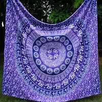 Apoorva's Purple Ombre Mandala Tapestry, Indian Ombre Tapestry, Hippie Tapestries, Wall Tapestries, Hippy Boho Throw, Bohemian Tapestries, Home Decor