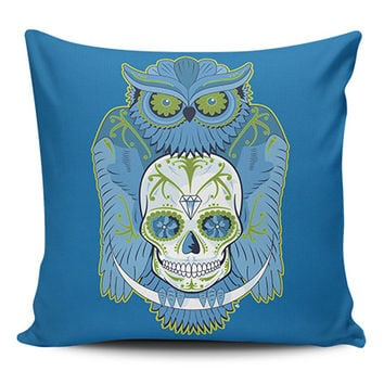 Owl Skull Pillow Covers