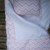 American Girl sleeping bag, pink chevron doll bedding for 18 inch doll