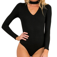 1Pcs 5 Colors Women Sexy High Neck V Long Sleeve Shoulder Autumn Spring Ribbed Bodysuits Playsuits Rompers Jumpsuits
