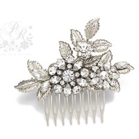 Wedding Hair Comb Rhinestone vermeil silver leaves Bridal hair comb Wedding Hair accessory Wedding Jewelry Bridal Accessory Head Piece
