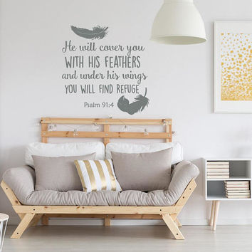 Psalm 91:4 He Will Cover You With His Feathers Bible Verse Wall Decal, Bible Verse Decal, Scripture Wall Decal, Family Wall Vinyl Art  K115