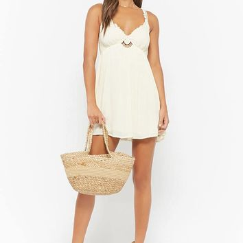 Plunging Crochet Babydoll Dress