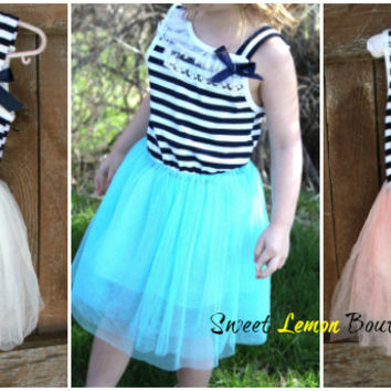 Sailor Striped Tutu Dress for Little Girls