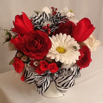 Silk Floral Arrangement with Zebra Accents Home Decor Special Occasion Gift