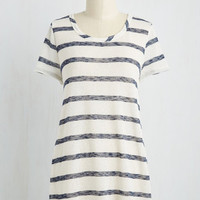 Nautical Mid-length Short Sleeves Mixed Media Outlet Top
