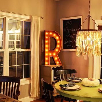 """36"""" Letter R Lighted Vintage Marquee Letters (Rustic)"""