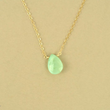 Opal Gold Necklace, Opal Silver Necklace, opal jewellery, delicate necklace, aqua green, opal bead necklace, opal gemstone necklace/N-124