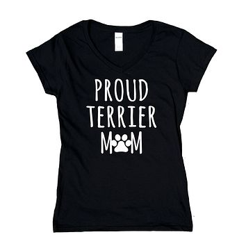 Proud Terrier Mom Shirt Scottish Bull Jack Russell Dog Breed Puppy V-Neck T-Shirt