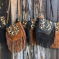 """""""Welcome To The Jungle"""" Cow Hair Leopard Print Leather Fringe Cross Body Purse"""