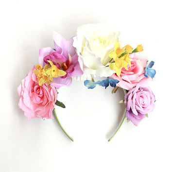 flower headband // floral headpiece, hair crown, wedding bridal headpiece, statement, lana del rey, fascinator, spring racing, hair