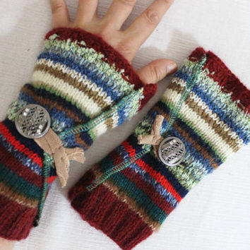 Knitted fingerless gloves, Button gloves, Hippie gloves, colored arm warmers, Women's Accessories, striped gloves, Women's Christmas gifts