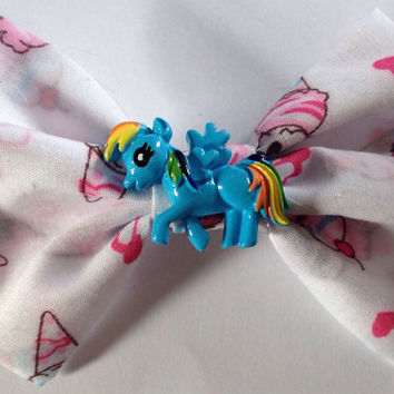 Rainbow Dash Ice Cream Hairbow, Cute, Fairy Kei, Kawaii, Kitsch, IceCream, Brony, My Little Pony, Hair bow, Brony, Hearts, Sweet Lolita
