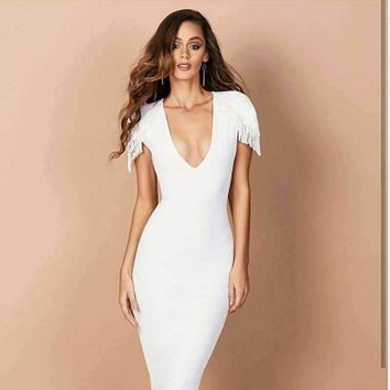 Dress White Tassels Woman Elasticity Tight Cocktail Party Bandage Dress (L2207)