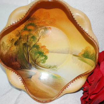 Serving Bowl from Noritake Norimura Hand Painted Porcelain Bowl Vintage Kitchenware