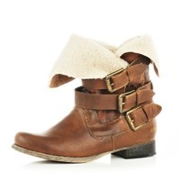 light brown faux fur ankle boots - ankle boots - shoes / boots - women - River Island