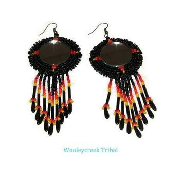 Beaded Mirror Tribal Earrings With Fringe , Four Directions In Fire Colors