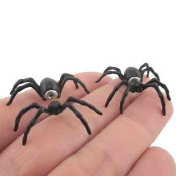3D Realistic Spider Tarantula Bug Shaped Front and Back Stud Earrings in Black
