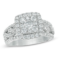 1-1/2 CT. T.W. Diamond Frame Braided Shank Engagement Ring in 14K White Gold