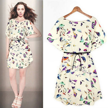 Summer Chiffon Slim Round-neck Stylish Short Sleeve Women's Fashion Skirt One Piece Dress [4915016580]