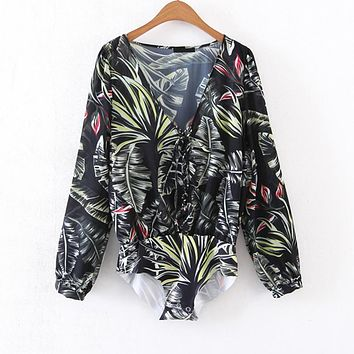 Women Print Hollow out Sexy Party Body Shirt Bodysuit Blouse Playsuit Jumpsuit Romper V Neck Long Sleeve Lace up Overall Top