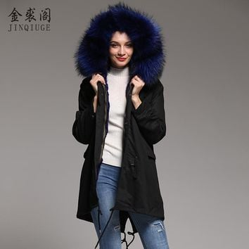 JINQIUGE real fur coat winter warm jacket lady large real raccoon fur collar natural mink fur lining coat detachable