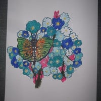 Original Acrylic Painting Teal and Orange Butterfly with Blue Forget Me Not Flowers and Pink Buds
