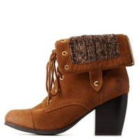 Rust Chunky Heel Lace-Up Booties by Qupid at Charlotte Russe