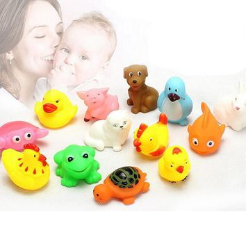 13PCS Lovely Rubber Animals With Sound Toys for Baby Shower Bath 88 @ BM88