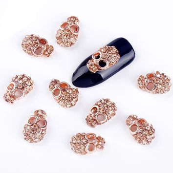 10 Pcs Rose Gold Alloy 💀 Skull Rhinestones For Nails