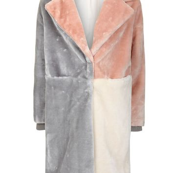 Patchwork Faux Fur Coat - Clothing