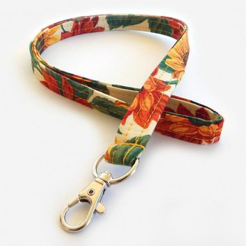 Pretty Floral Print Lanyard - Sunflower