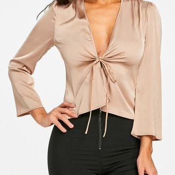 Silky Low Cut Blouse