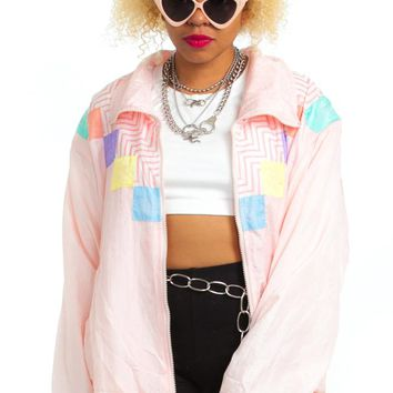 Vintage 80's Pastel Geo Windbreaker - One Size Fits Many