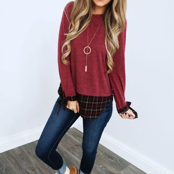 Field Party Sweater: Dusty Burgundy/Multi