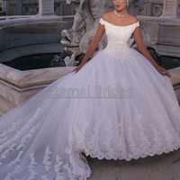 Duchess Satin with Applique Basque Waist  Cap Sleeves/off shoulder  Ball Gown Wedding dress cathedral Train