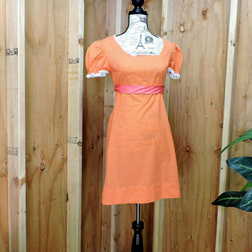 Vintage 60s dress / size S / M / 6 / 7  / baby doll dress / mod orange polka dot dress / 1960s retro babydoll dress