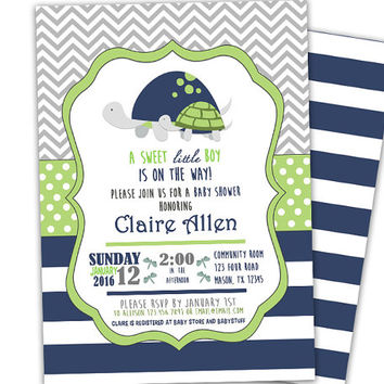 Lime Green Turtle  Baby Shower Invitation - Boy Baby Shower Invites - Lime and Navy Blue - Dots - Chevron - Modern - Trendy - Printed Spots
