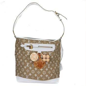 Louis Vuitton White Tan Canvas Leather Fabric Monogram Tote with Charms.