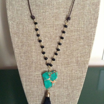 Black Crystal Chain With Leather Green Sea Sediment Jasper Stone With Black Gold Tassel Necklace