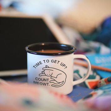 Time To Get Up? Count Meowt Enamel Camping Coffee Mug