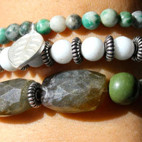 "Labradorite, Tree Agate and Snow Quartz ""Earth"" Healing Energy Bracelet Stack"