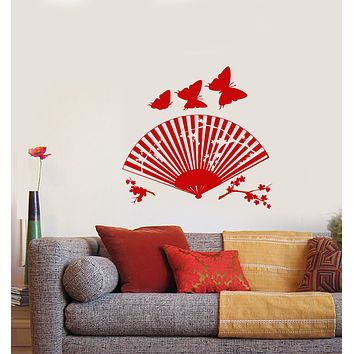 Vinyl Wall Decal Asian Japanese Fan Sakura Branch Butterfly Stickers (4036ig)