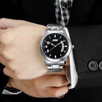 Men's Fashion Calendar Quartz Waterproof Wrist Watch Classic Business Watch (White , Black , Silver ) = 1913388228