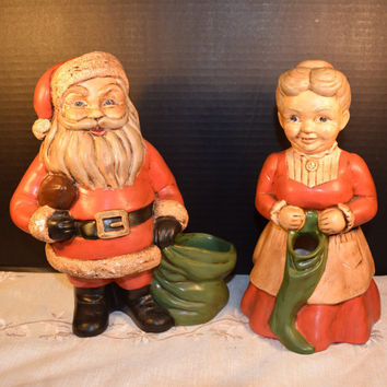 Mr. and Mrs. Santa Claus Planters Vintage Hand Painted Santa and Mrs. Claus Pottery Planters Candy Holders Christmas Decoration Kitsch
