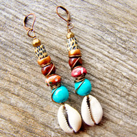Southwestern Earrings - Seashell Earrings - Boho Tribal - African Jewelry - Tribal Earrings - African Tribal Earrings - Boho Hippie Earrings