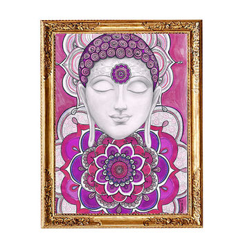 Meditation art Buddha Mandala Painting, Instant Download Art, Zen Buddhist Wall Decor, Pink Ethnic Wall decor, Buddha Mandala Drawing Art