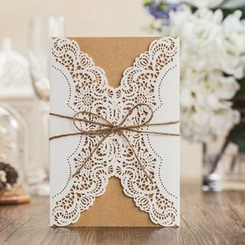 50pcs FREE SHIPPING WHITE Vine Vintage Flower Wedding Invitation Card Cover with inner insert with envelope PK14113