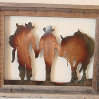 Cowboy and Cowgirl Metal Barn Wood Wall Hanging
